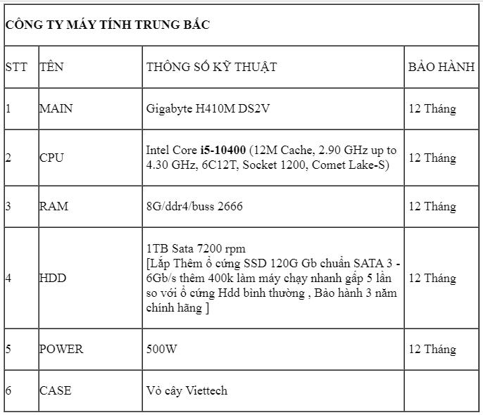 Main H410M Cpu i5-10400 Ram 8GB HDD 1TB