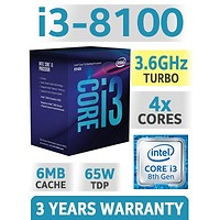 CPU Intel Core i3-8100 3.6Ghz / 6MB / 4 Cores, 4 Threads / Socket 1151 v2 (Coffee Lake )