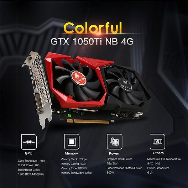 Card Colorful GTX1050Ti NB 4G 2 fan